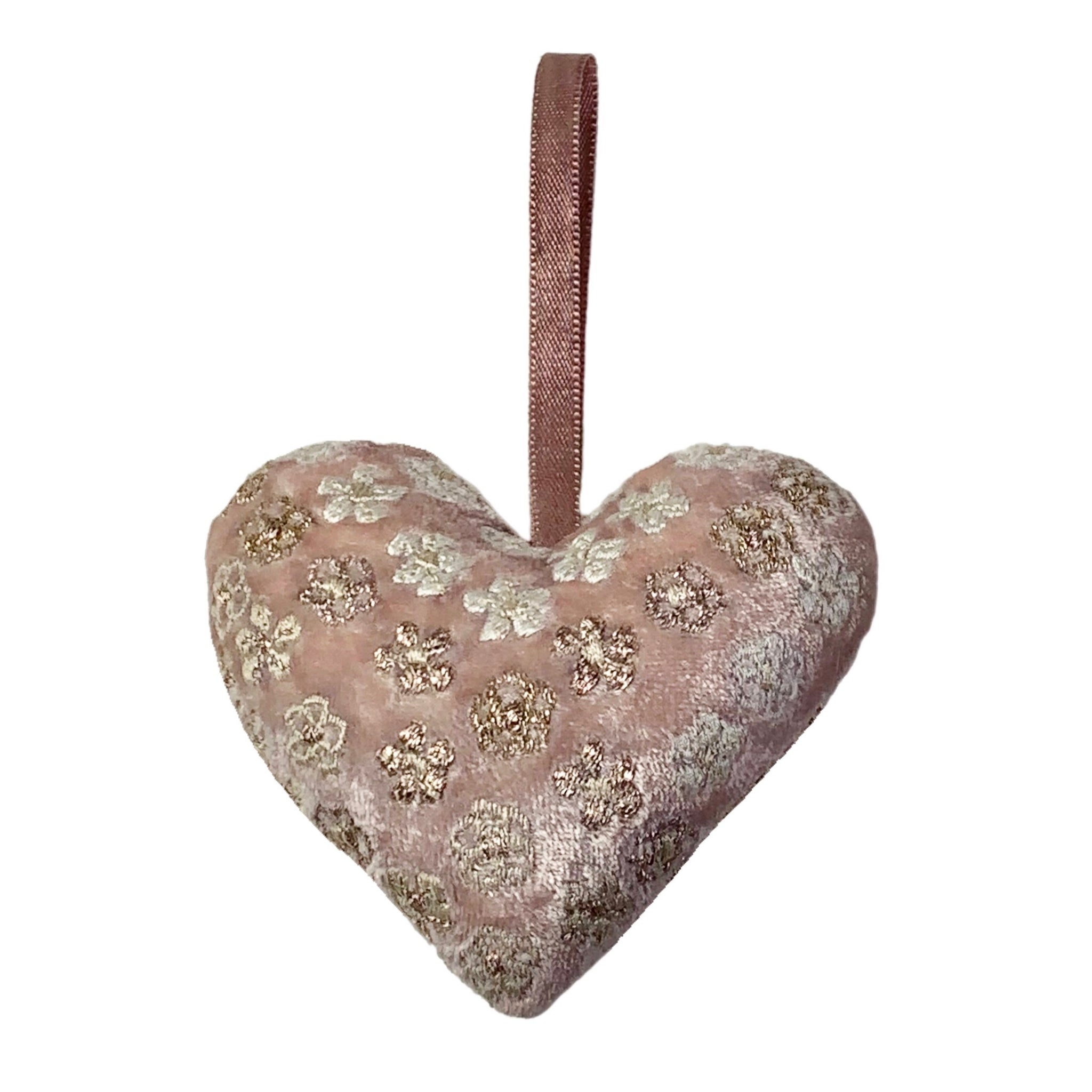 Anise Silk Velvet Heart in Rose Quartz