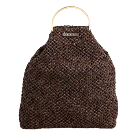 Straw Bracelet Bag in Brown