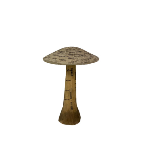 Medium Wooden Hand-Carved Mushroom