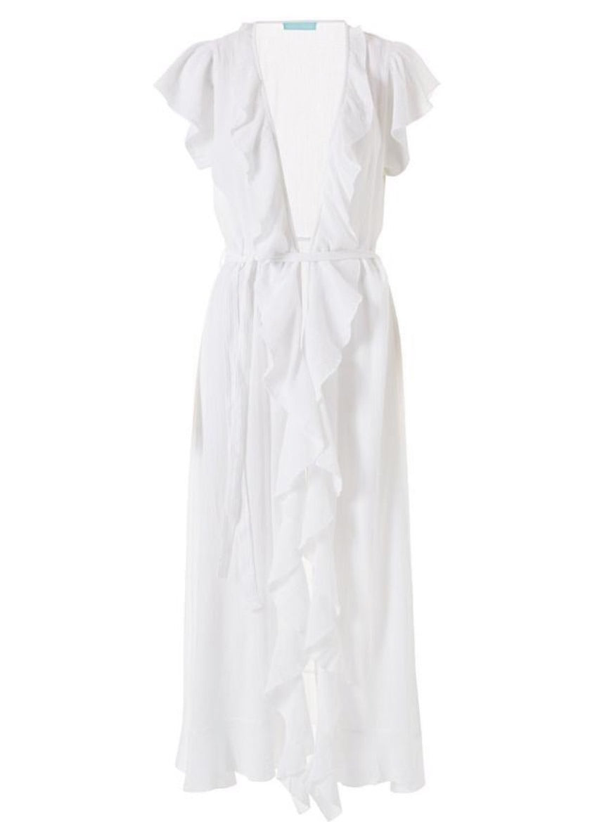 Brianna Frill Wrap Maxi Dress in White