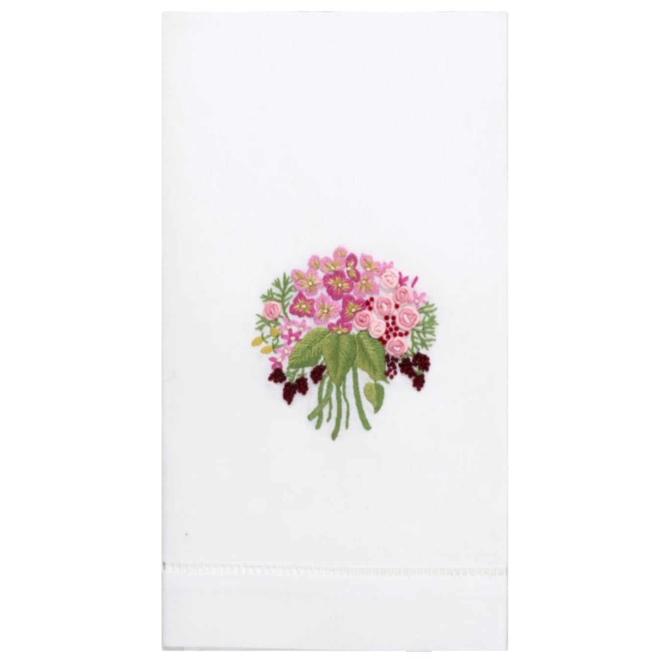 Embroidered Pink Bouquet Everyday Towel