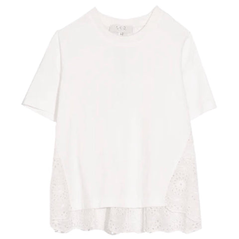 Daisy Combo Short Sleeve T-Shirt in Off White