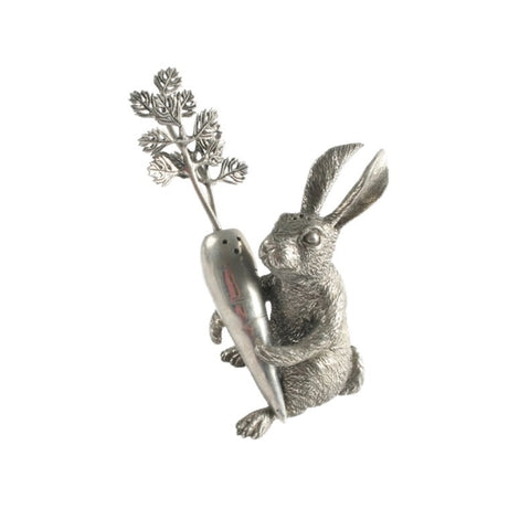 Rabbit & Carrot Pewter Salt + Pepper Shaker Set