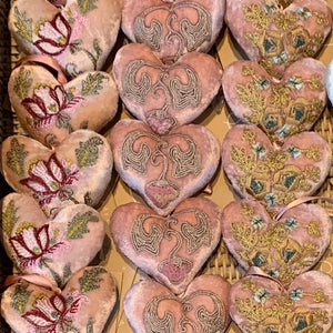 Pink Embroidered Velvet Hearts