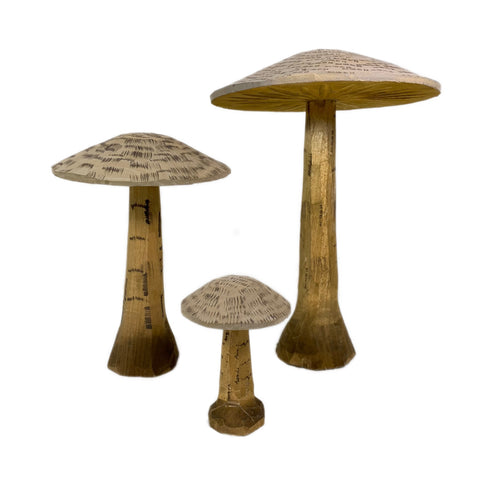 Small Wooden Hand-Carved Mushroom