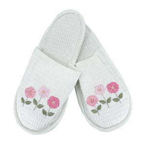 Row of Flowers White Waffle Slippers in Pink