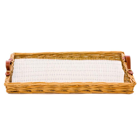 Large Rattan Island Tray with Tan Leather Handles
