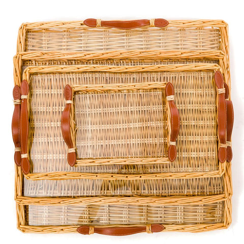 Small Rattan Island Tray with Tan Leather Handles