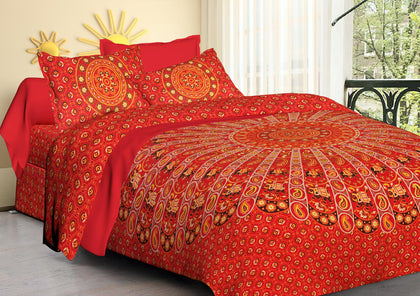 Traditional Jaipuri Bedsheet King Size (93x108 Inch )100% Cotton - (Red Mandala) - iZiffy.com