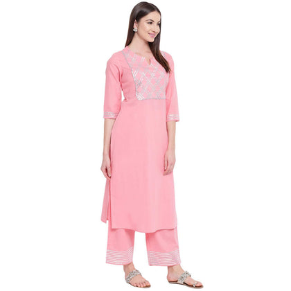 Flaray Women's Cotton Kurta With Palazzo Set (Light Pink) - iZiffy.com