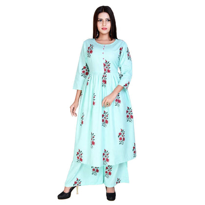 Women's Cotton Kurti With Palazzo Pant Set (Sea Blue) - iZiffy.com
