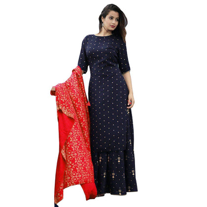 Flaray Women's Rayon Kurti With Palazzo Pant And Full Golden Print Work Red Dupatta Set Women & Girls. - iZiffy.com