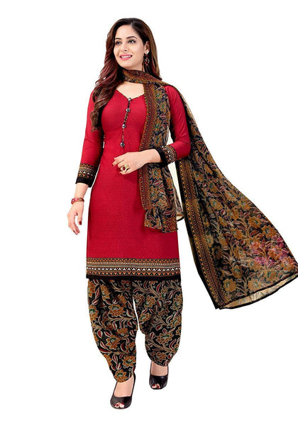 Women's Red Crepe Printed Unstitched Salwar Suit Dress Material - iZiffy.com