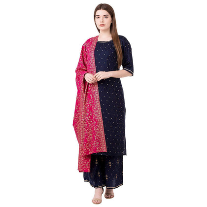 Flaray Women's Rayon Gold Printed Kurta Palazzo Set With Rayon Printed Dupatta - iZiffy.com