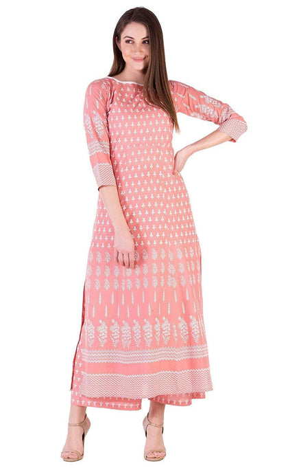 Women's Cotton Straight Kurti With Palazzos - iZiffy.com