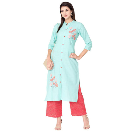 Flaray Women's Cotton Straight Embroidered Kurta with Pant Set - iZiffy.com