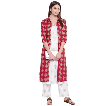 Flaray Women's Rayon Printed Jacket Kurta With Palazzo Pant Set - iZiffy.com