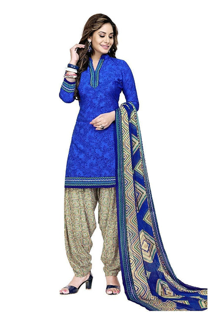 Women's Printed Unstitched Patiala Crepe Georgette Suit - iZiffy.com