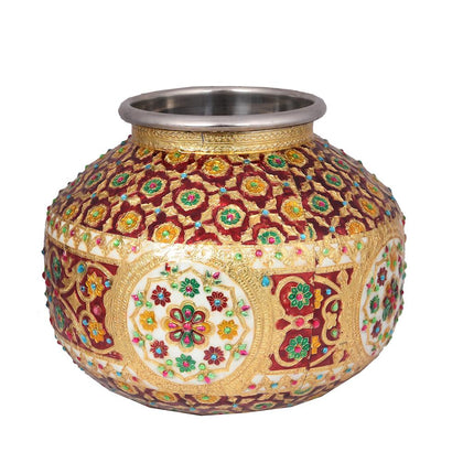 Red Steel Matka With Lid - iZiffy.com