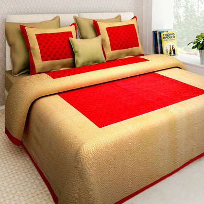 Jaipuri Bedsheet King Size (93x108 Inch )100% Cotton - (Red Gold) - iZiffy.com