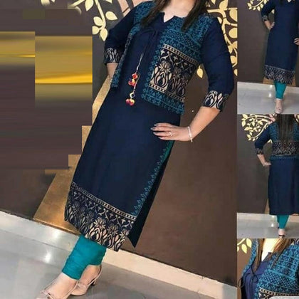 The Kanha Ethnic Blue Straight Kurta With Jacket Stylish Two Piece Kurta Designer Kurta kurti Elegant Kurta Tunic Stylish Rayon Kurti Top Dress-Blue - iZiffy.com