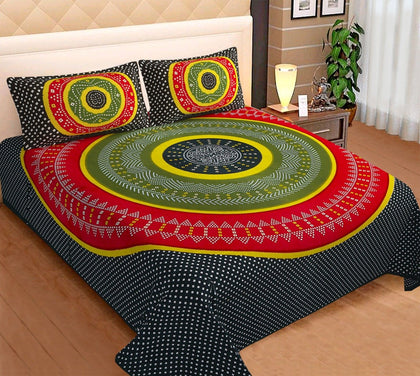 Traditional Jaipuri Bedsheet King Size (93x108 Inch )100% Cotton - (Black Bandhej) - iZiffy.com