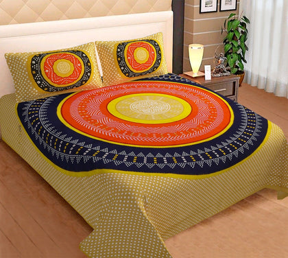 Jaipuri Bedsheet King Size (93x108 Inch )100% Cotton - (Deep Yellow Bandhej) - iZiffy.com