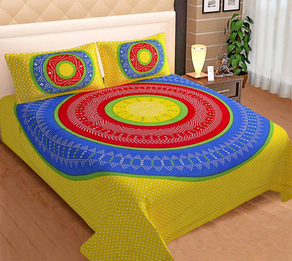 Jaipuri Bedsheet King Size (93x108 Inch )100% Cotton - (Yellow Bandhej) - iZiffy.com