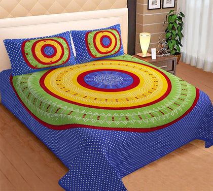 Jaipuri Bedsheet King Size (93x108 Inch )100% Cotton - (Blue Bandhej) - iZiffy.com
