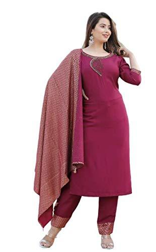 Gaurav Creation 3/4th Sleeves Round Neck Rayon Long Kurti Set and Dupatta for Women - iZiffy.com