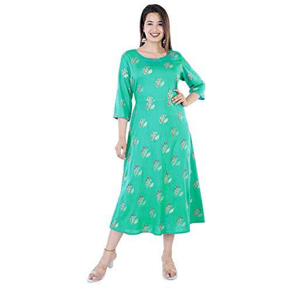 Gaurav Creation 3/4th Sleeves Round Neck Rayon Long Kurti Set for Women - iZiffy.com
