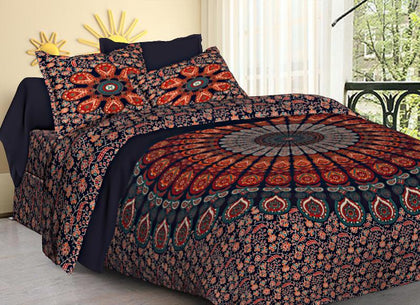 Jaipuri Bedsheet King Size (93x108 Inch )100% Cotton - (Multi Chilli Mandala) - iZiffy.com