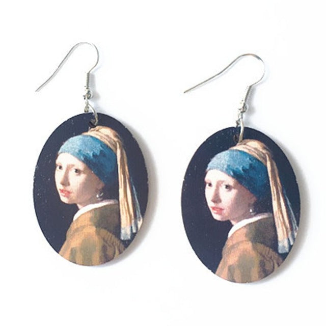 1 Pair Creative Vintage Oil Painting Earrings
