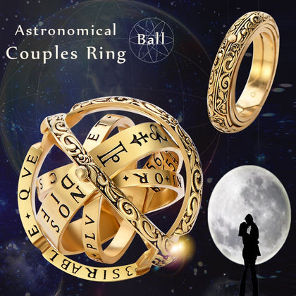 New Gold Silver Sphere Rings Vintage Universe Planet Astronomical Ball Love Couple Ring