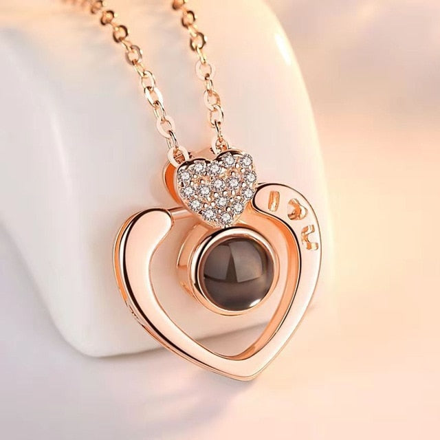 Love Heart Romantic Love Memory Wedding Necklace Rose Gold & Silver