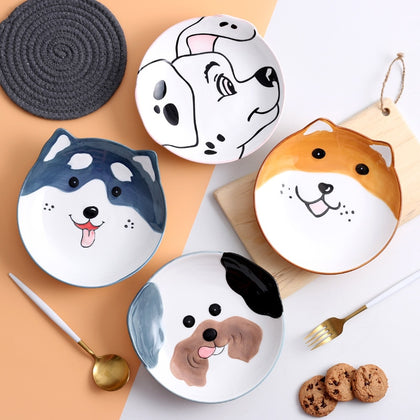 8 inch 3D Dog Dinner Plate Bowl Spoon Set Kids Noodle Bowl Ceramic Pet Bowl Decorative Plate Cartoon Animal Dinnerware Crockery
