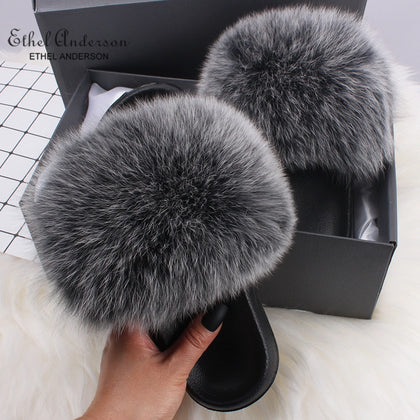 Ethel Anderson Fluffy Slippers Real FOX Fur Slides Indoor Flip Flops