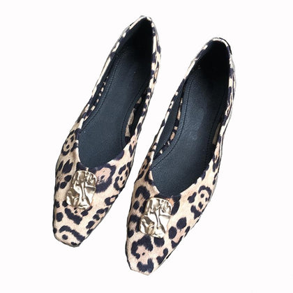 Women's Genuine Leather Flat Shoes Leopard Print