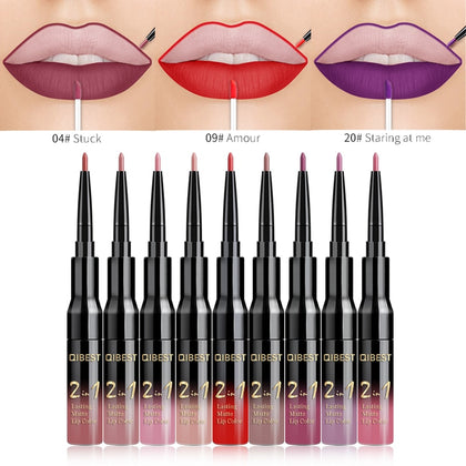 QiBest 2 in 1 Lip Liner Liquid Lipstick Pencil Matte Waterproof Lipliner Red Lips Liners Pen Stick Long Lasting Sexy Makeup