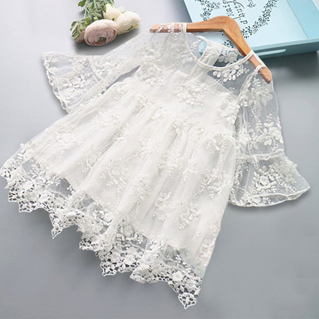 Girl Dress Kids Dresses For Girls Mesh Casual Lace Embroidery Princess