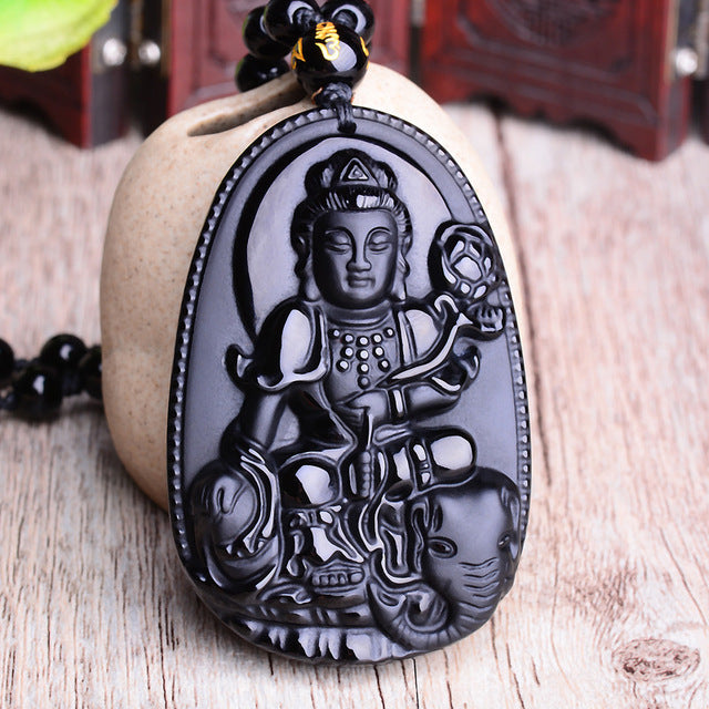 Black Obsidian Six Stars Lucky Amulet  Love Natural Stone Pendant
