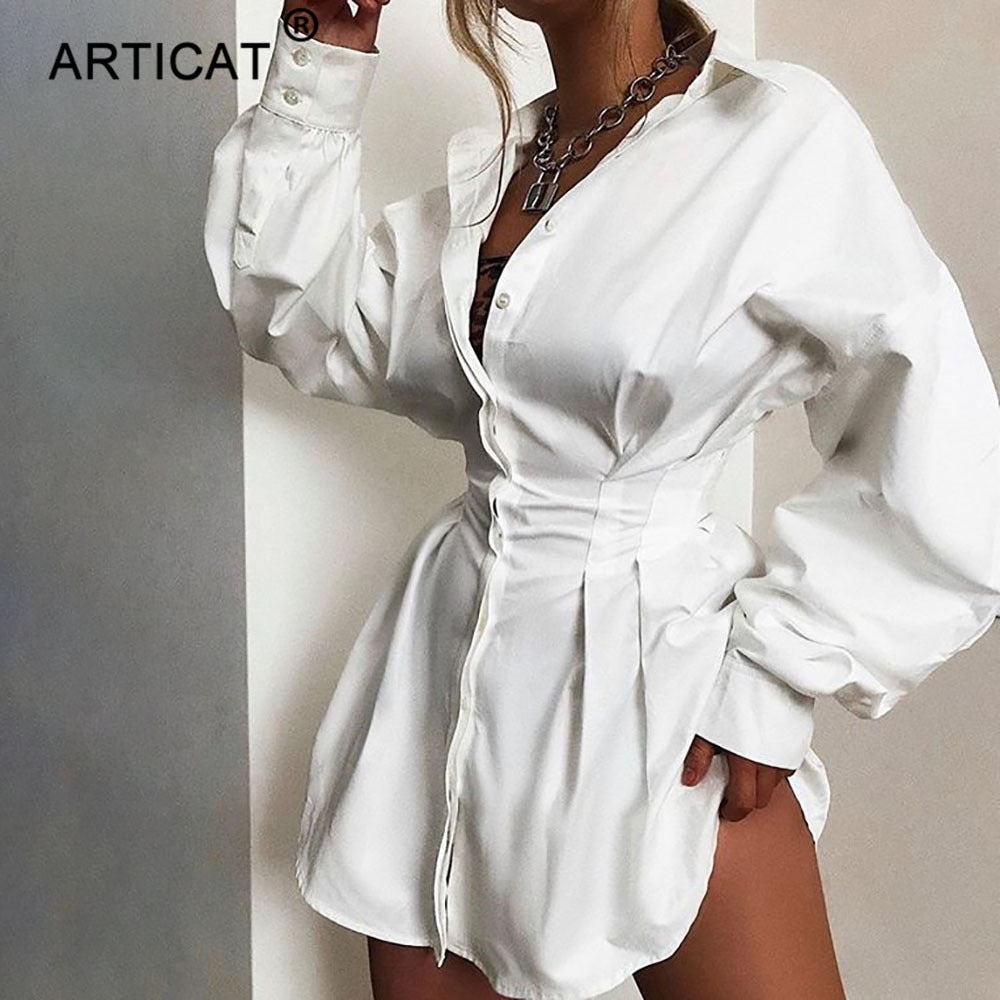 Articat Elegant Short Women Shirt Dress Casual Lantern Sleeve Single Breasted Mini Dress Turn-down Collar White Sexy Party Dress