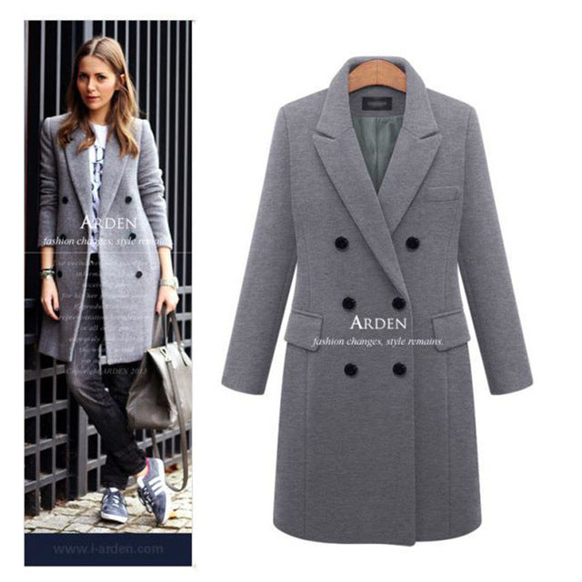Autumn Winter Coat Women Casual Wool Solid Jackets Blazers Female Elegant Double Breasted Long Coat