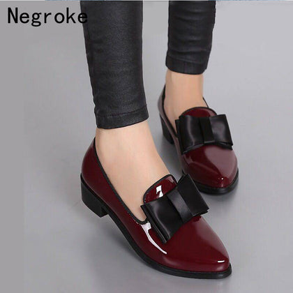 New Women Pumps Fashion Bowknot Shiny Patent Leather Block Chunky Low Heels