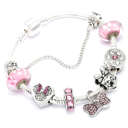 New Lovely Mickey Charms Bracelet For Women Kids Silver Color Minnie Chain Pan Bracelet&Bangles Femme Girl Jewelry