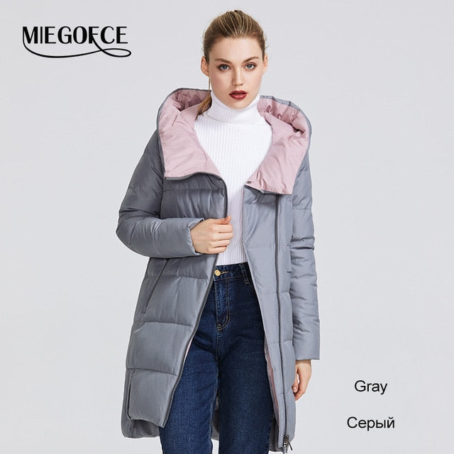 MIEGOFCE 2019 Winter Collection Women's Warm Jacket Made With Real Bio Parka Women Windproof Stand-Up Collar With Hood Coat