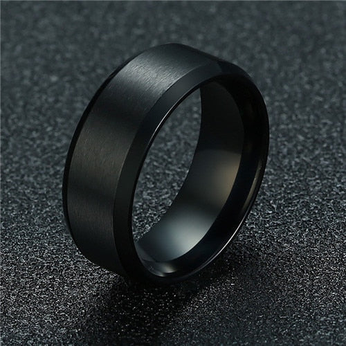 8mm Classic Ring Male 316L Stainless Steel Ring For Man