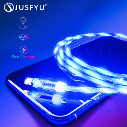 Magnetic Cable USB Type C Cable Magnetic Cable LED Lighting fast Charging USB Micro Charger Cable Wire for iPhone Huawei Samsung
