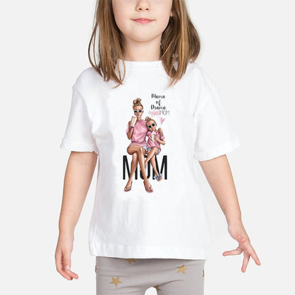 Super Mom Baby Girls T Shirt Mother and Baby Love Life Vogue Kawaii Printed T-Shirts