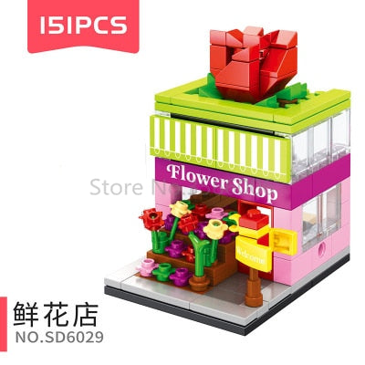 Single Mini Legoinglys City Street Series Food Candy Pizza Ice Cream Shop Bookstore MOC Building Blocks Kids Educational Toys